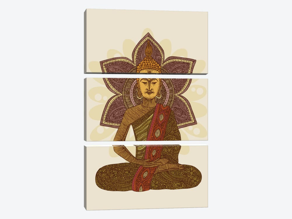 Sitting Buddha by Valentina Harper 3-piece Canvas Print