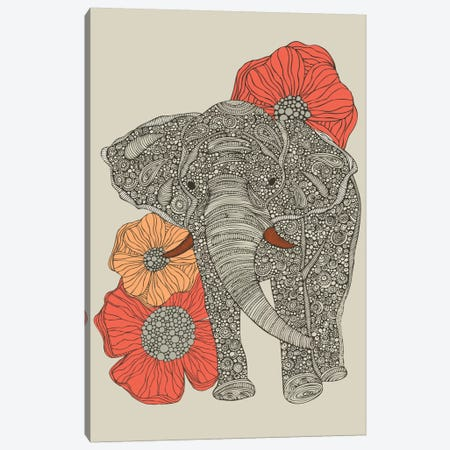 The Elephant With Flowers I Canvas Print #VAL380} by Valentina Harper Canvas Wall Art
