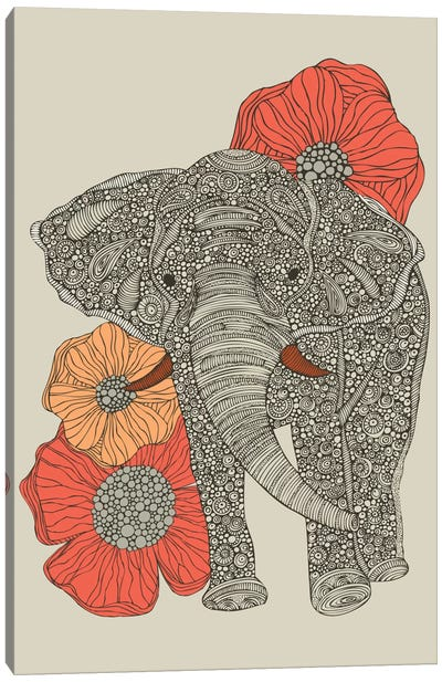 The Elephant With Flowers I Canvas Print #VAL380