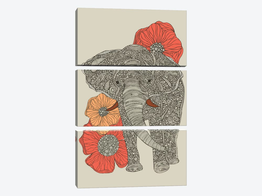The Elephant With Flowers I by Valentina Harper 3-piece Canvas Art Print