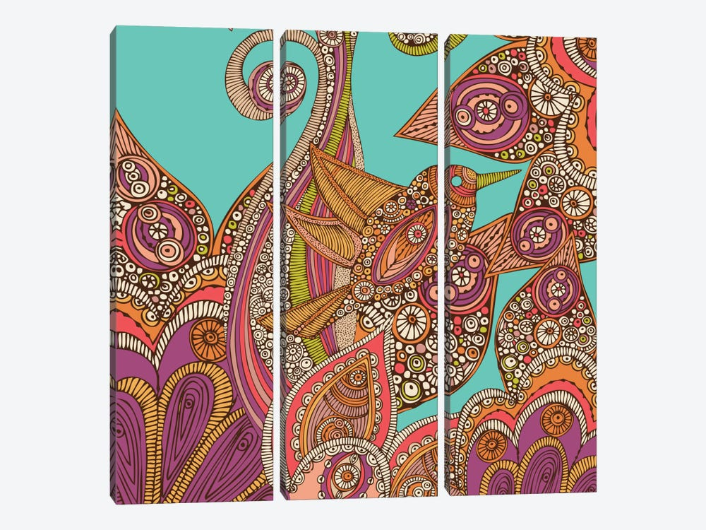 A Bird In Paradise III by Valentina Harper 3-piece Canvas Print