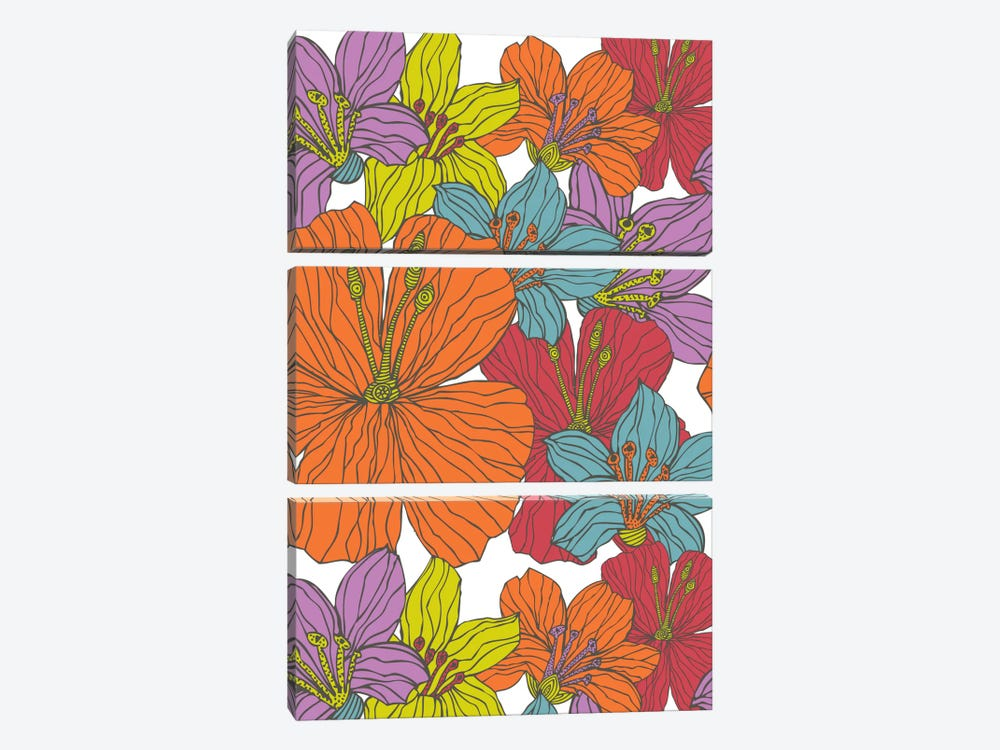 Tropical Flowers by Valentina Harper 3-piece Canvas Print