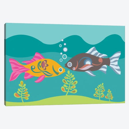 Two Little Fishies Canvas Print #VAL412} by Valentina Harper Canvas Artwork
