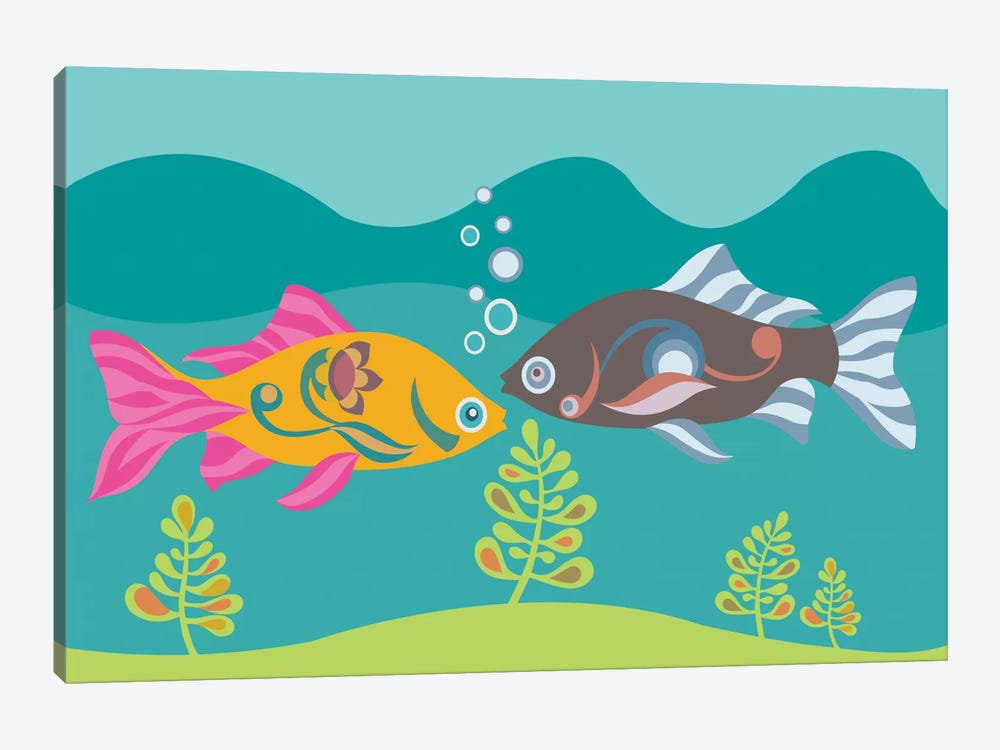 Two Little Fishies by Valentina Harper 1-piece Canvas Print