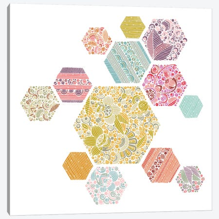 Summer Honeycomb Canvas Print #VAL453} by Valentina Harper Canvas Artwork