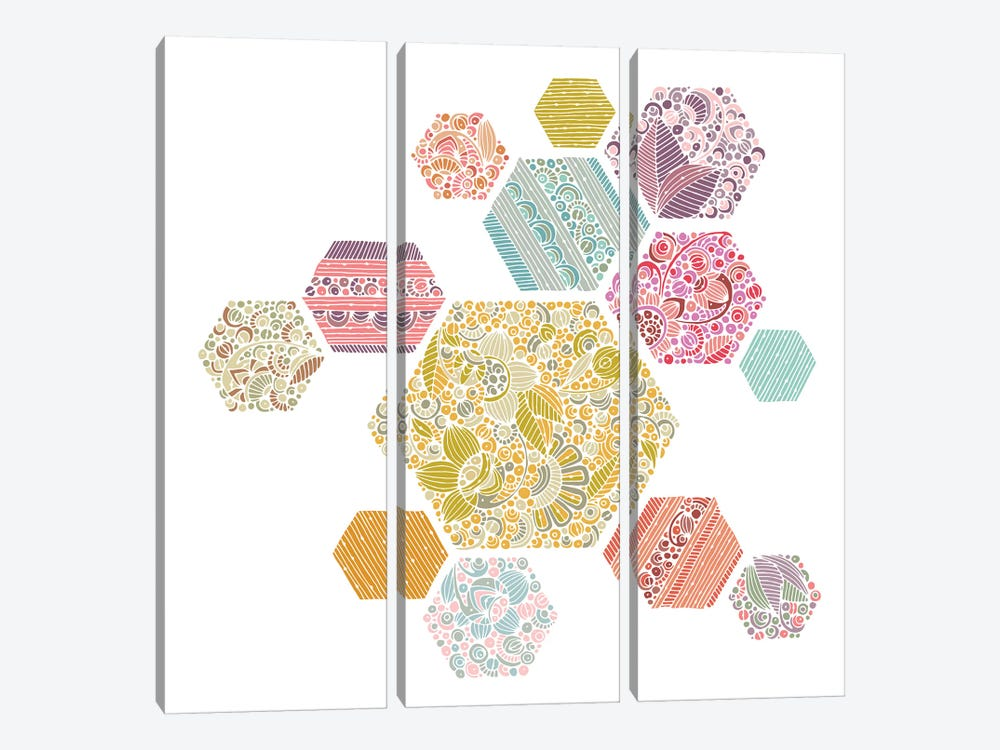 Summer Honeycomb by Valentina Harper 3-piece Canvas Art