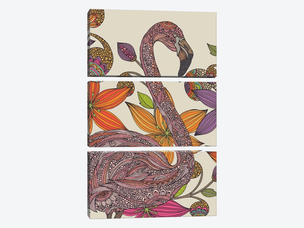 The Flamingo II by Valentina Harper 3-piece Canvas Art Print
