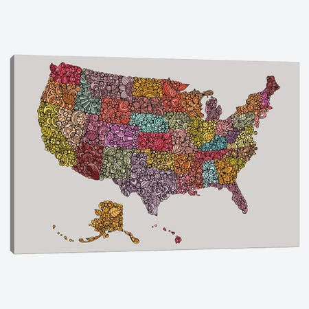 US Map Canvas Print #VAL470} by Valentina Harper Canvas Art