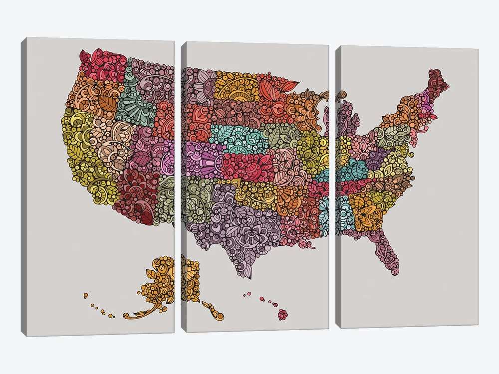 US Map by Valentina Harper 3-piece Canvas Print