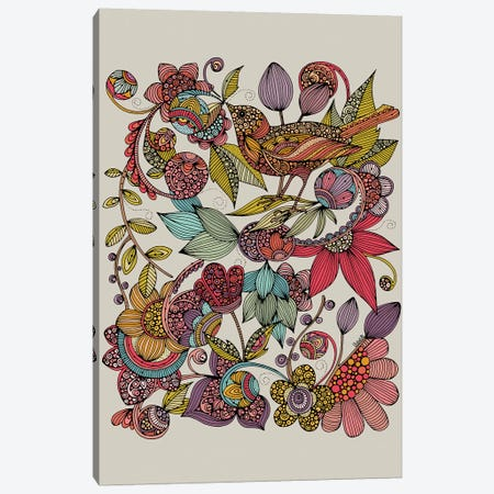 Bird And The Flowers Canvas Print #VAL476} by Valentina Harper Art Print