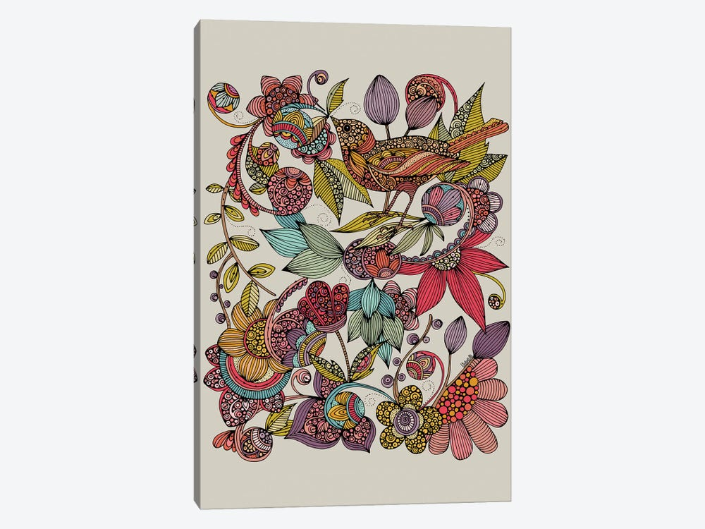 Bird And The Flowers by Valentina Harper 1-piece Canvas Art Print
