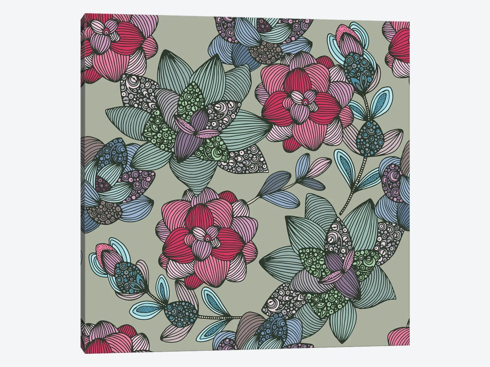 Suculents Flowers Pattern by Valentina Harper 1-piece Canvas Print