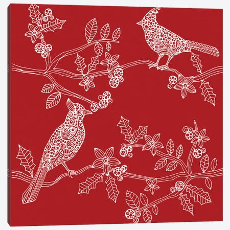 Christmas Birds Canvas Print #VAL58} by Valentina Harper Canvas Print