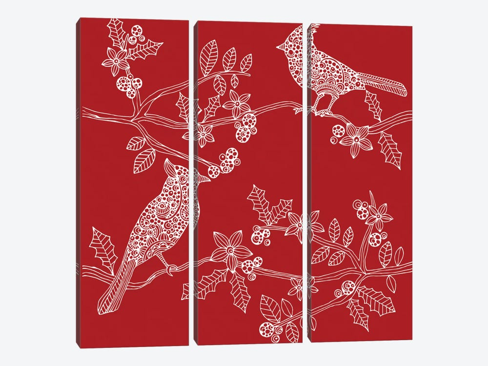 Christmas Birds by Valentina Harper 3-piece Canvas Artwork
