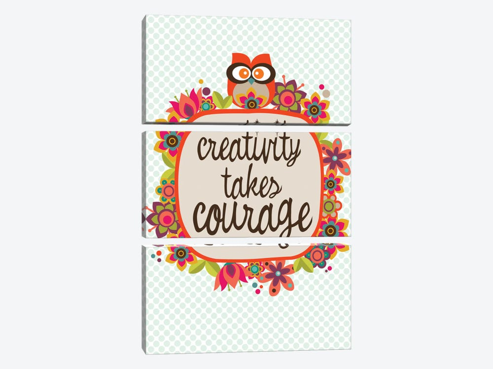 Creativity Takes Courage by Valentina Harper 3-piece Canvas Wall Art