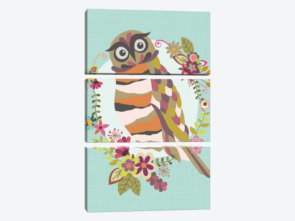 Cute Owl by Valentina Harper 3-piece Canvas Print