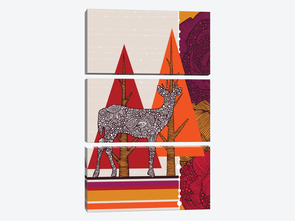 Deer In Woodland by Valentina Harper 3-piece Canvas Print