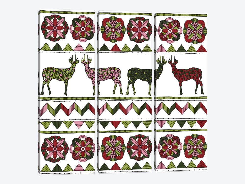 Deer Pattern I by Valentina Harper 3-piece Canvas Art