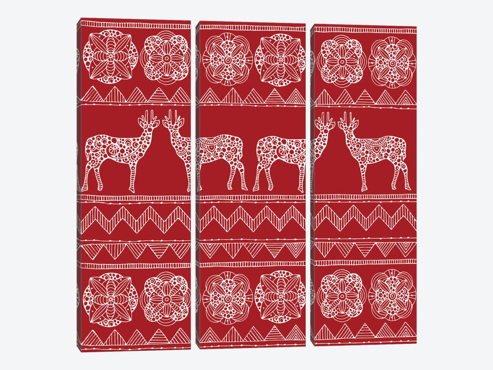 Deer Pattern II 3-piece Canvas Art Print