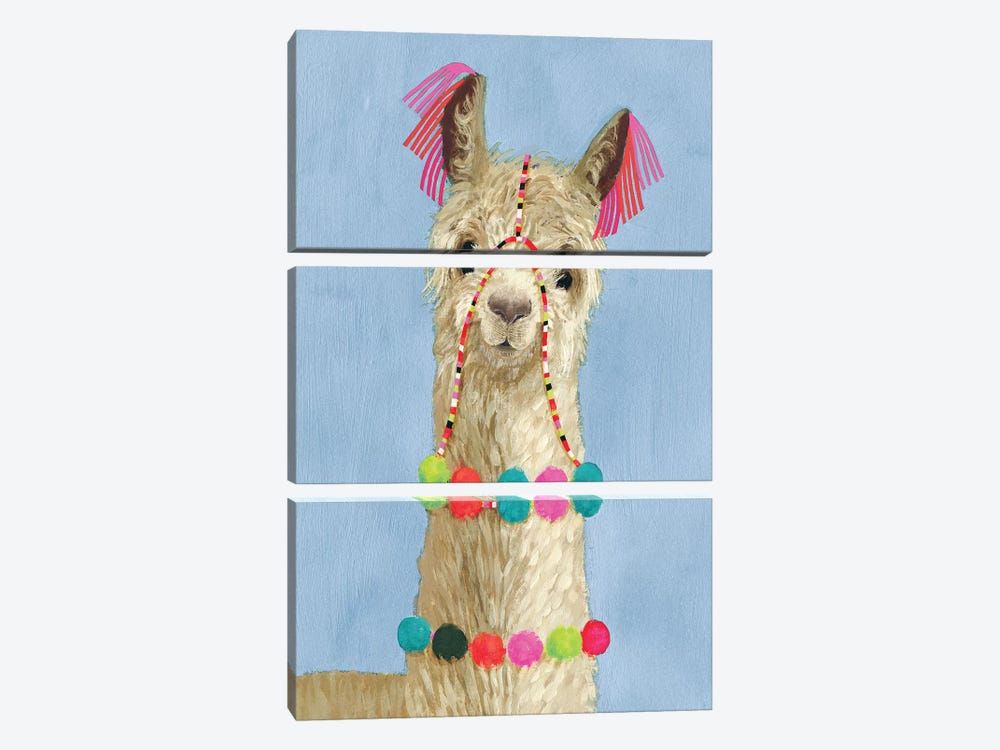 Adorned Llama III by Victoria Borges 3-piece Canvas Art Print