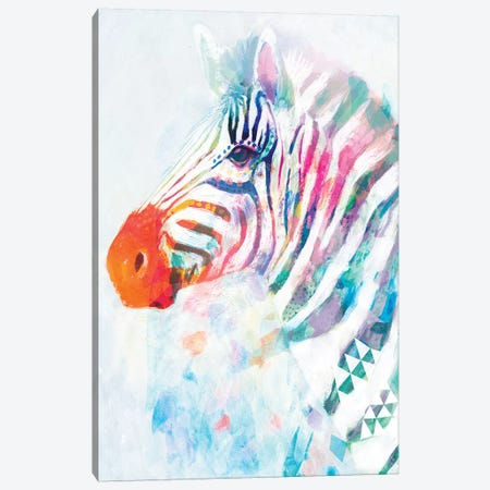 Fluorescent Zebra I Canvas Print #VBO133} by Victoria Borges Canvas Art Print