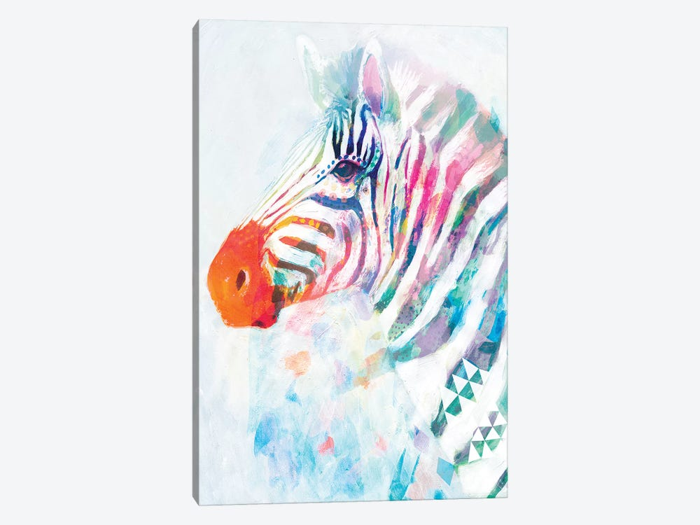 Fluorescent Zebra I by Victoria Borges 1-piece Canvas Artwork