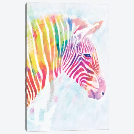 Fluorescent Zebra II Canvas Print #VBO134} by Victoria Borges Canvas Wall Art