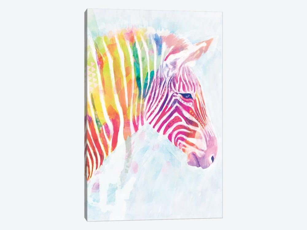 Fluorescent Zebra II by Victoria Borges 1-piece Canvas Art Print