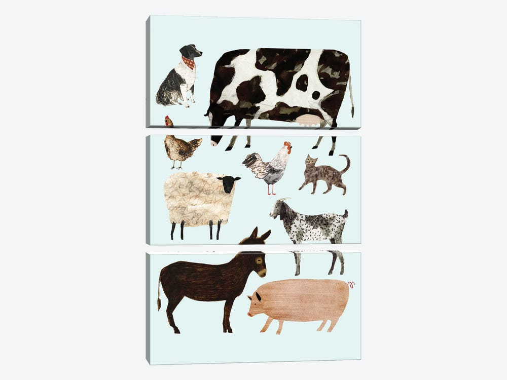Barnyard Buds I by Victoria Borges 3-piece Canvas Art Print