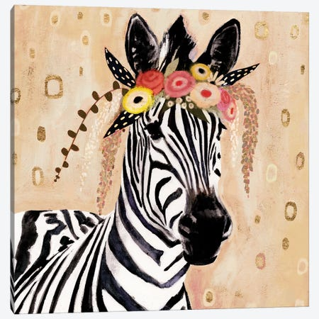 Klimt Zebra I Canvas Print #VBO147} by Victoria Borges Canvas Art Print