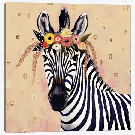 Klimt Zebra II Canvas Print #VBO148} by Victoria Borges Canvas Artwork