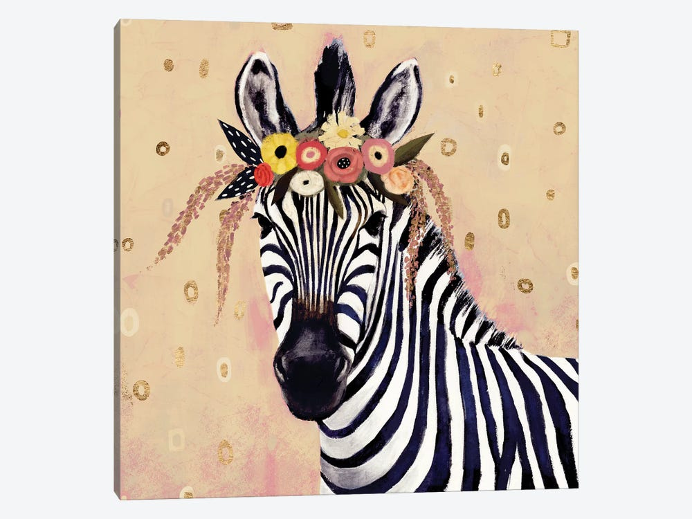 Klimt Zebra II by Victoria Borges 1-piece Canvas Wall Art