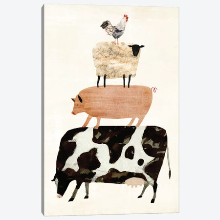 Barnyard Buds III 3-Piece Canvas #VBO15} by Victoria Borges Canvas Print
