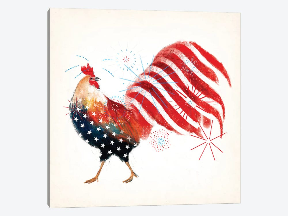 Rooster Fireworks I by Victoria Borges 1-piece Canvas Wall Art