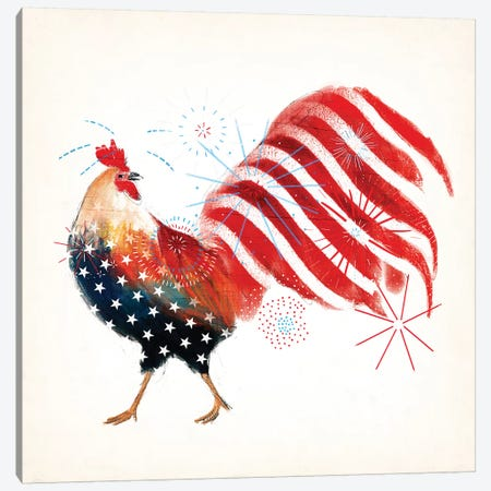 Rooster Fireworks I 3-Piece Canvas #VBO171} by Victoria Borges Art Print