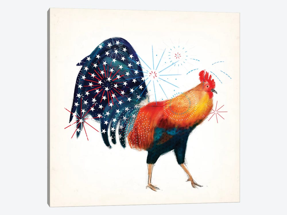 Rooster Fireworks II by Victoria Borges 1-piece Art Print