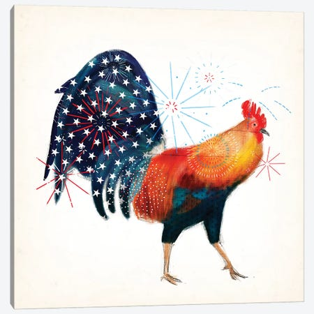Rooster Fireworks II 3-Piece Canvas #VBO172} by Victoria Borges Art Print