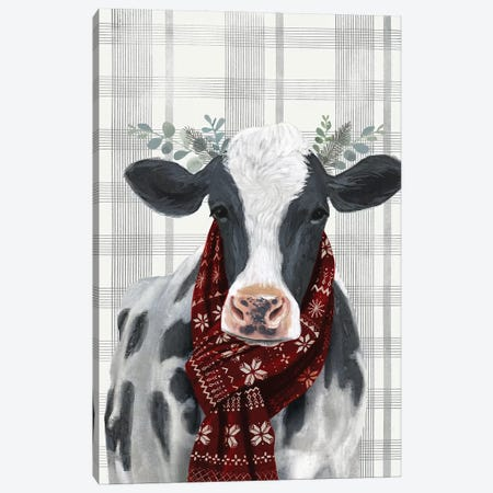 Yuletide Cow I Canvas Print #VBO181} by Victoria Borges Canvas Wall Art