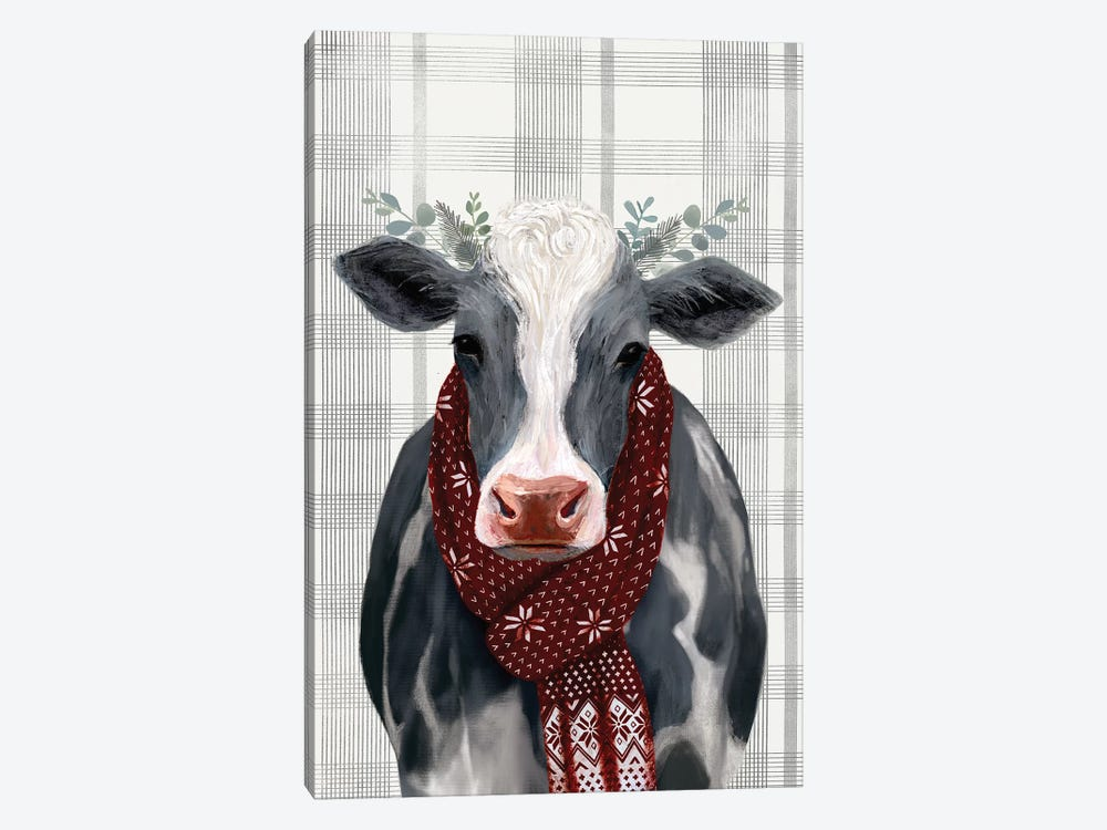 Yuletide Cow II by Victoria Borges 1-piece Canvas Art
