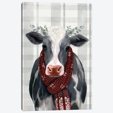 Yuletide Cow II 3-Piece Canvas #VBO182} by Victoria Borges Canvas Artwork