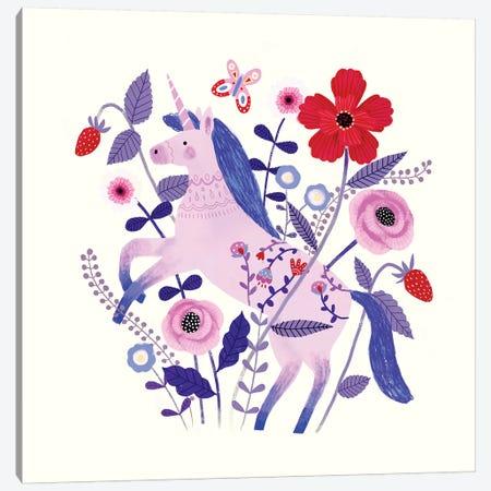 Folk Unicorn II 3-Piece Canvas #VBO212} by Victoria Borges Canvas Art