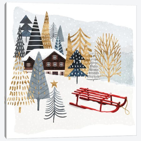 Christmas Chalet II Canvas Print #VBO24} by Victoria Borges Canvas Artwork