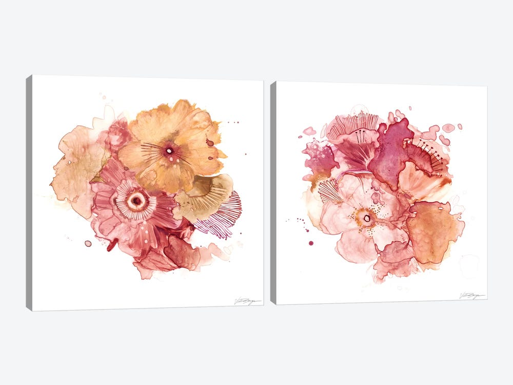 Blossom Burst Diptych by Victoria Borges 2-piece Canvas Art