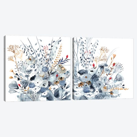 Indigo & Ochre Diptych Canvas Print Set #VBO2HSET002} by Victoria Borges Canvas Art Print