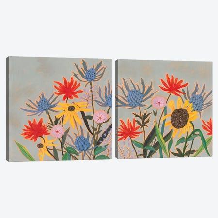 Thistle Bouquet Diptych Canvas Print Set #VBO2HSET003} by Victoria Borges Canvas Art Print