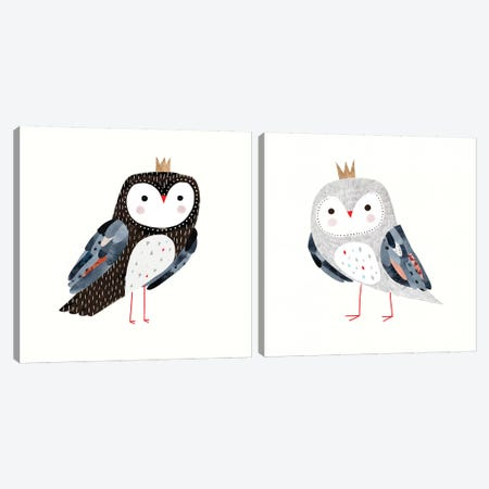 Crowned Critter Diptych Canvas Print Set #VBO2HSET007} by Victoria Borges Canvas Art