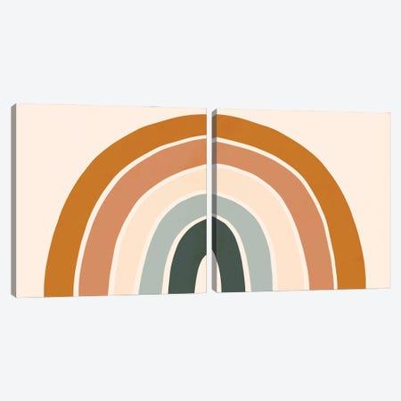 Retro Rainbow Diptych Canvas Print Set #VBO2HSET013} by Victoria Borges Canvas Artwork