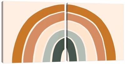 Retro Rainbow Diptych Canvas Art Print