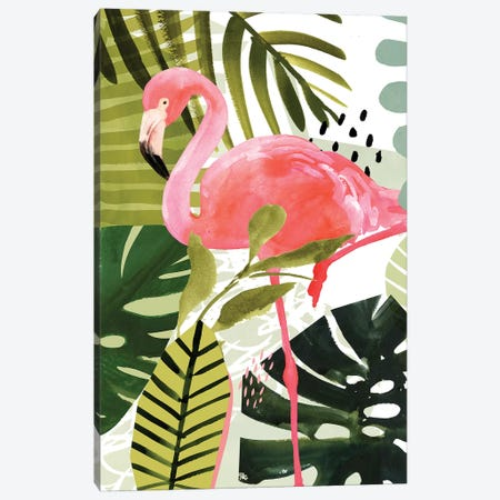 Flamingo Forest I Canvas Print #VBO302} by Victoria Borges Canvas Wall Art