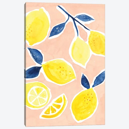 Lemon Love I Canvas Print #VBO362} by Victoria Borges Canvas Wall Art